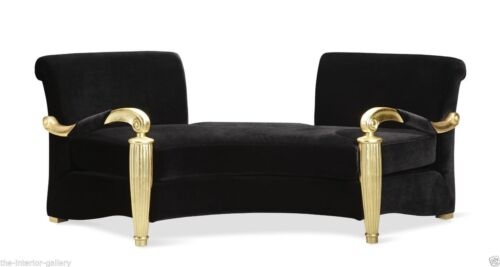 Arm Chair - Gaston Two Seater Arm Chair in Black Velvet and