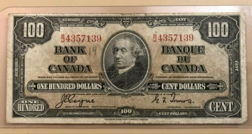 1937 $100 one hundred dollars Bank of Canada - Sir John MacDonald