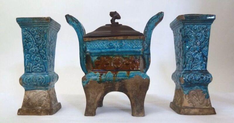 Antique Chinese Blue Glaze Incense Burner And Vases