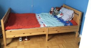 Like-new 10/10 ikea twin bed frame AND mattress - moving sale
