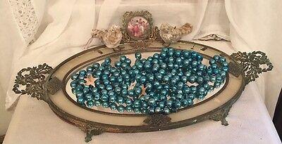 """6+ Feet Antique Vtg Teal Blue Mercury Glass Garland 1/2"""" Beads Strung & Loose"""