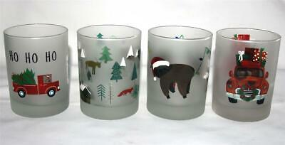 """4 Culver Frosted Christmas Varied Designs DOF LowBall 4-1/8"""" Glass Tumblers NEW"""