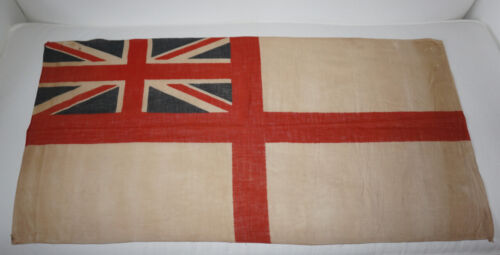 Vintage British White Ensign Flag Union Jack Royal Navy