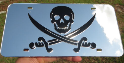 PIRATE FLAG CALICO JACK SPARROW MIRRORED ACRYLIC LASER CUT LICENSE PLATE