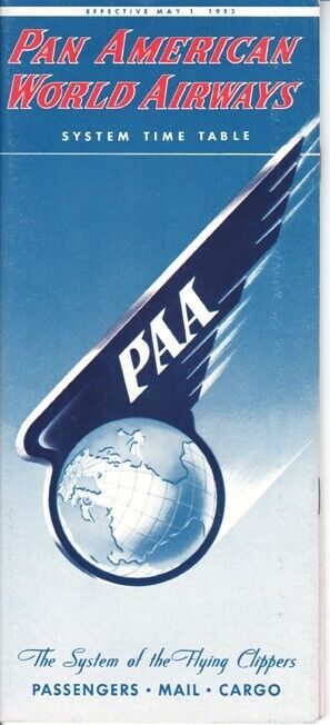 PAA Pan American World Airways timetable 1953/05/01