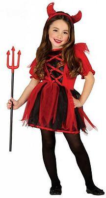 Komplettes Teufel Kostüm für Mädchen Kinder mit Haarreifen Kind Kostüme 85501