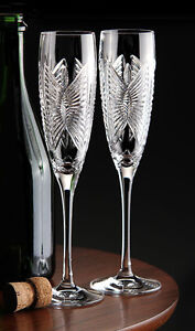 2 Waterford Love Happiness Champagne Flutes