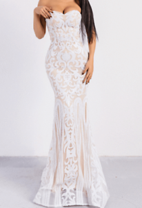 Formal Wedding Bridal Gown Fashion white strapless maxi Dress