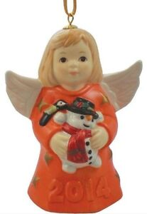2014 Goebel Annual Dated Angel Bell Ornament Tangerine Orange 39th Edition