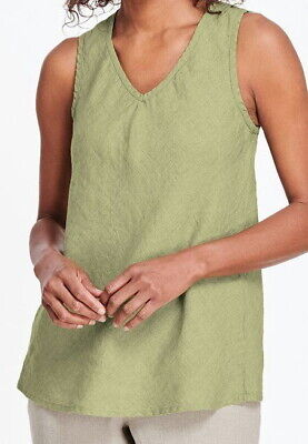 FLAX Designs   Linen  BIAS VEE Tank  M & L  NWT Neutral Two WASABI Bias Tank