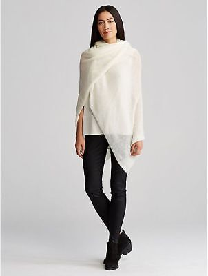 NWT $298 NEW EILEEN FISHER AIRY WASHED MOHAIR SOFT WHITE SERAPE SHAWL WRAP SCARF