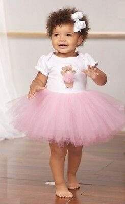 SALE! Infant Size 9-12 Months Pink and White Bear Ballerina Tutu Dress NWT