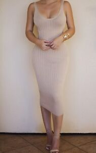 Jlux Label Nude Beige Ribbed Tight Dress Size S BNwT