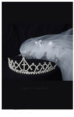 New Girls Rhinestone Crown First Communion Veil Headpiece Baptism Christening 6](First Communion Headpieces)