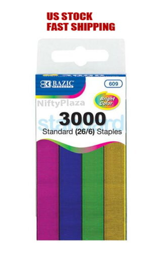 Metallic Color Standard Staples (26/6) 3000 Ct Chisel Point Home, School, Office