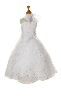 White Flower Girls Organza Dress First Communion Party Wedding Christmas 1100C - Flower Girl Dresses Organza