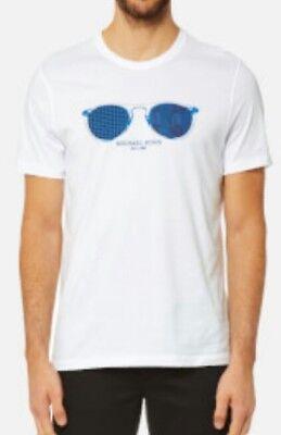NWT $49.50 Michael Kors Mens White T-Shirt w/Blue Aviator Sunglasses Graphics S