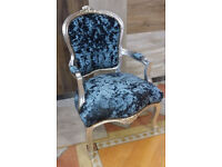 Peacock crushed velvet studded louis French armchair