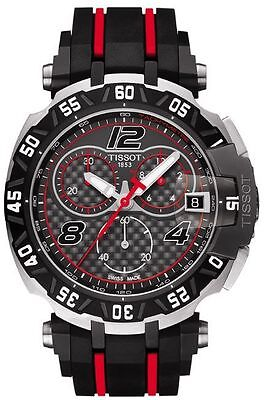 *BRAND NEW* Tissot Men's Black and Red Rubber Steel Watch T092.417.27.207.00