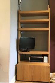 Holloway, Pick up Only: Habitat oak shelving unit.Four adjustable shelves.Base cupboard with shelf.