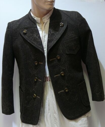 ☛ Beautiful Brown Embroidered Miesbacher Traditional Jacket By Danzer Hausham
