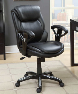 Leather Black Office Chair - Like Brand New - 90$