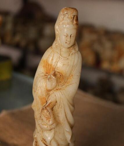 "8.4/"" China Natural Old White Jade Master Carved Stand Guanyin Bodhisattva Statue"