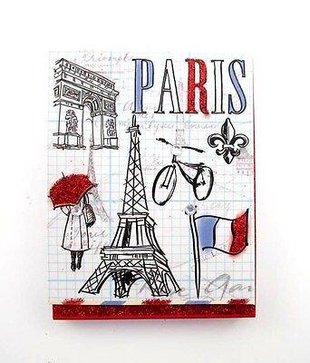Mr Pocket Mini Note Pad Magnetic Closure Paris Sketch Sparkle Crystals