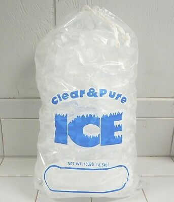 CLEAR & PURE ICE 10 LB DRAWSTRING ICE BAGS *100 COUNT* FREE SHIPPING 10 Lb Ice Bags