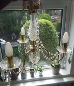 Searchlight marie therese glass crystal chandelier- brass