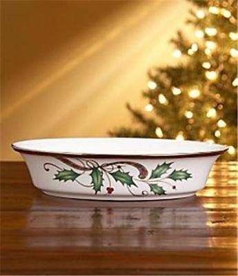 Lenox Holiday Nouveau Platinum White Vegetable Bowl New