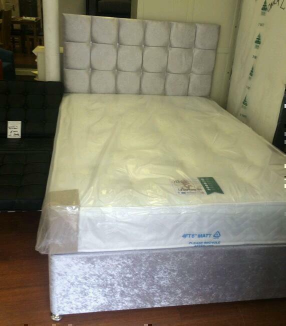 *special offer* 4'6 double divan bed with cube headboard + orthopaedic mattress