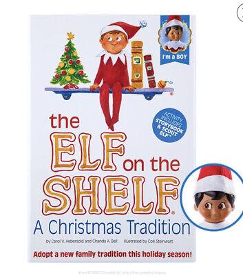 New Sealed Elf on the Shelf Dark Eye Boy Doll & A Christmas Tradition Book