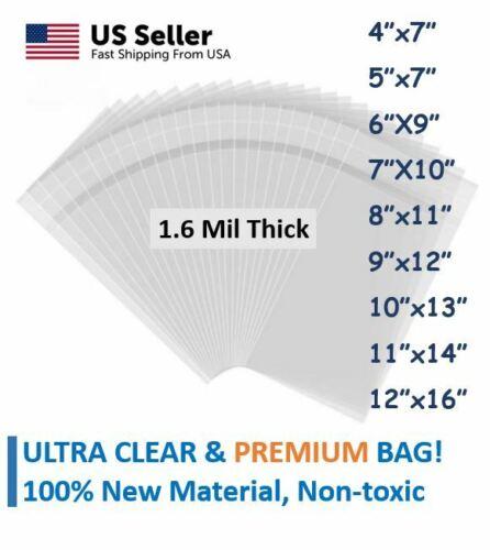🔥100pcs OPP Bag🔥 Premium Cello Bag, 1.6Mil Thick, Self Adhesive 9 Sizes Asst