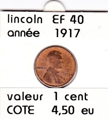e2 )pieces de 1 cent  1917    lincoln