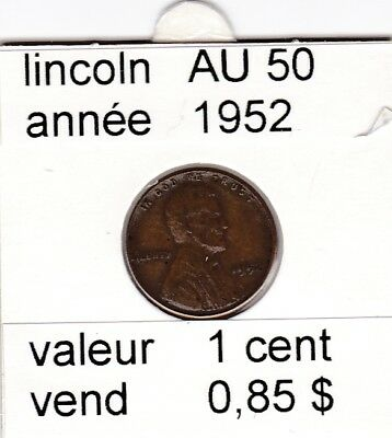 e2 )pieces de 1 cent  1952      lincoln