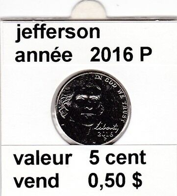 e3 )pieces de 5 cent 2016 P   voir description