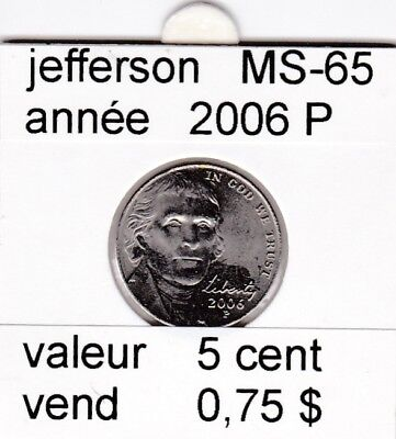 e2 )pieces de 5 cent 2006 P  jefferson