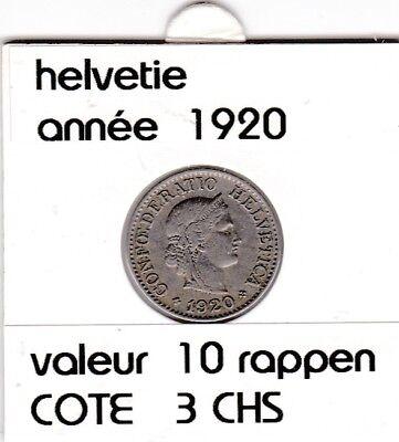 S 1) pieces suisse de 10  rappen de 1920  voir description
