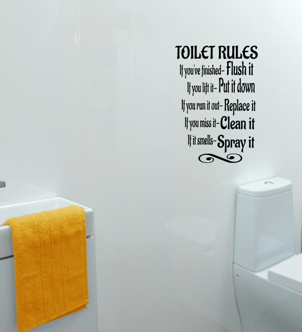 Home Decoration - Toilet Rules Wall Sticker Bathroom Quote Vinyl Removable Decals Art Home Decor