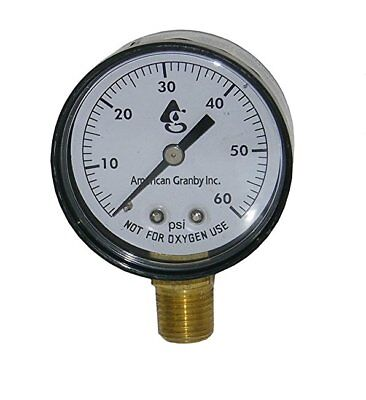 "Side Mount 60LB Filter Pressure Gauge with 1/4"" Pipe Threads for Pool or Spa"
