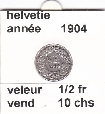 S 2 ) pieces suisse de 1/2 franc  de 1904  voir description