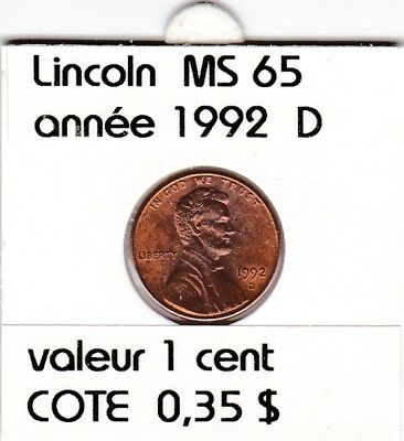 e2 )pieces de 1 cent  1992   D    lincoln