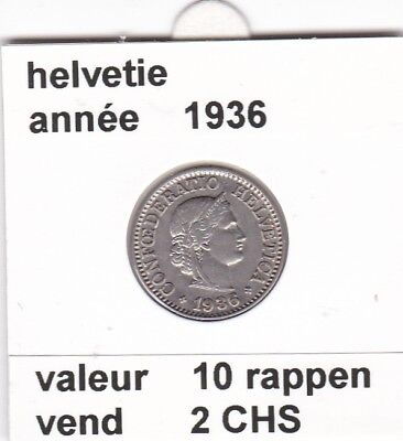 S 2) pieces suisse de 10  rappen de 1936  voir description