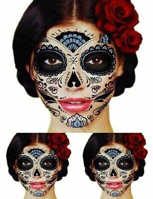 Dia De Los Muertos Tattoos (3 GLITTER WEB Day Of The Dead Dia de los Muertos Face Temporary)