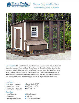 Chicken Coop Hen House 4 Ft X 8 Ft Modern Roof Style Project Plans 70408rm