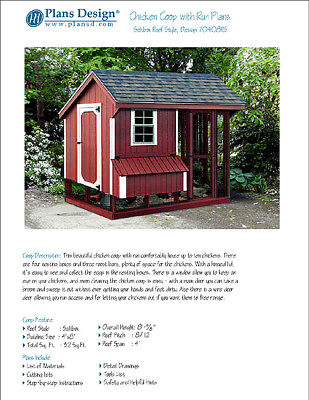 Chicken Coop Hen House 4 Ft X 8 Ft Saltbox Roof Style Project Plans 70408rs