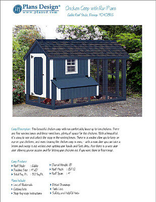 Chicken Coop Hen House 4 Ft X 8 Ft Gable A Frame Roof Style Project Plans