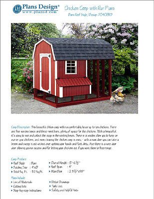 Chicken Coop Hen House 4 Ft X 8 Ft Barn Gambrel Roof Style Project Plans