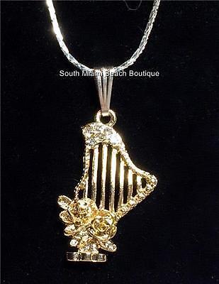 Harp Gifts (Silver Gold Celtic Harp Necklace Rose Vintage Musician Music Gift 18